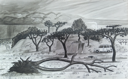 Sketch of a wet Christmas in the Serengeti